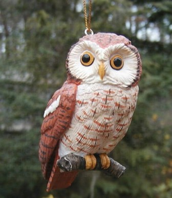 FWC161 - Fisher Wildlife Bird Ornaments Screech Owl
