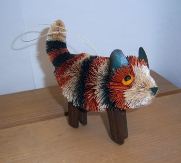 BRUSHOR106 - BrushArt Eco-Friendly, Buri Posable, Kitten Standing Calico Ornament