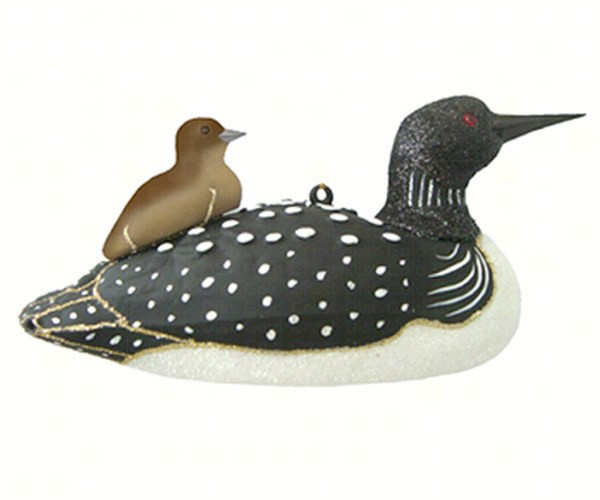 COBANEE380 - Margaret Cobane Hand Blown Glass Loon with Baby Ornament