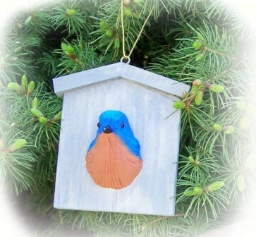 FWC178 - Fisher Wildlife Bird Ornaments Bluebird House