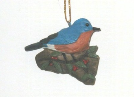 FWC138 - Fisher Wildlife Bird Ornaments Bluebird with Holly