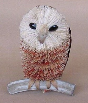 BRUSH155 - BrushArt Animals | Eco-Friendly, Buri Posable, Tabletop Owl On Branch