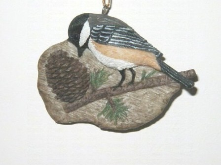 FWC150 - Fisher Wildlife Bird Ornaments Chickadee on Pinecone