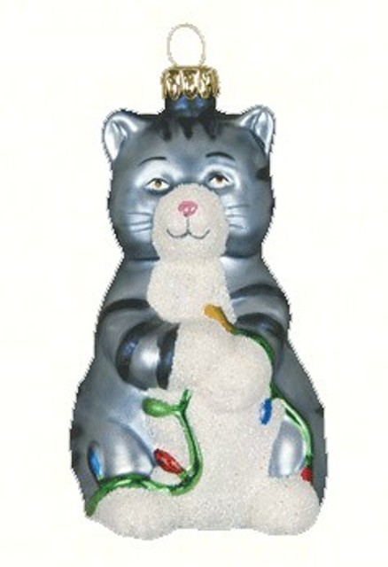 COBANEC332 - Margaret Cobane Hand Painted Big Kitty Gray Glass Ornament