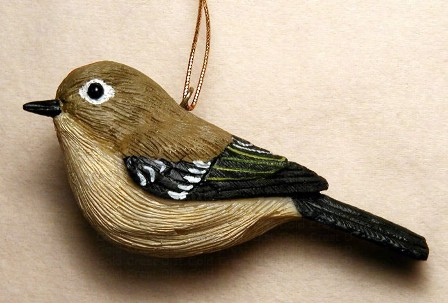 FWC163 - Fisher Wildlife Bird Ornaments Ruby Crowned Kinglet