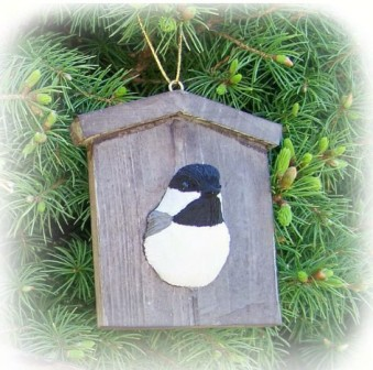 FWC177 - Fisher Wildlife Bird Ornaments Chickadee House