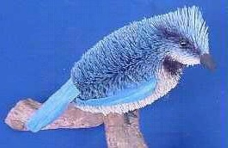 BRUSH111 - BrushArt Animals | Eco-Friendly, Buri Posable, Tabletop Blue Jay 5 inch with Branch