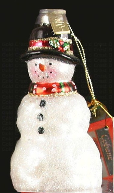 cobaneC328 - Margaret Cobane Hand Blown Glass Christmas Rustic Snowman Ornament